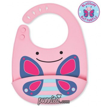 Skip Hop Zoo Fold and Go Silicone Bib butterfly