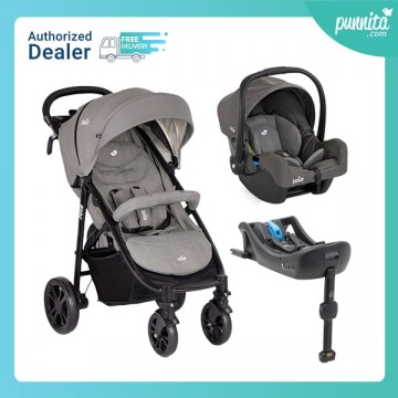 Joie Stroller Litetrax 4 Grey fannel + Carseat Gemm สี Foggy Gray + JOIE carseat BASE